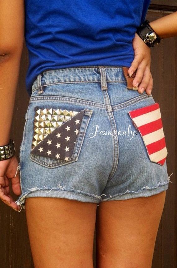 American flag shortsLevis high waist denim shortsUS by Jeansonly, $59.99