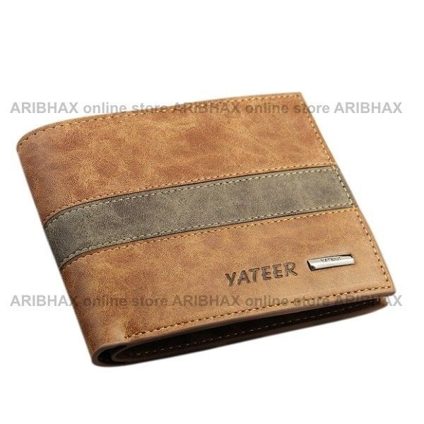 Short Soft Synthetic Leather Wallet for Men (Horizontal) #Yateer #Bifold
