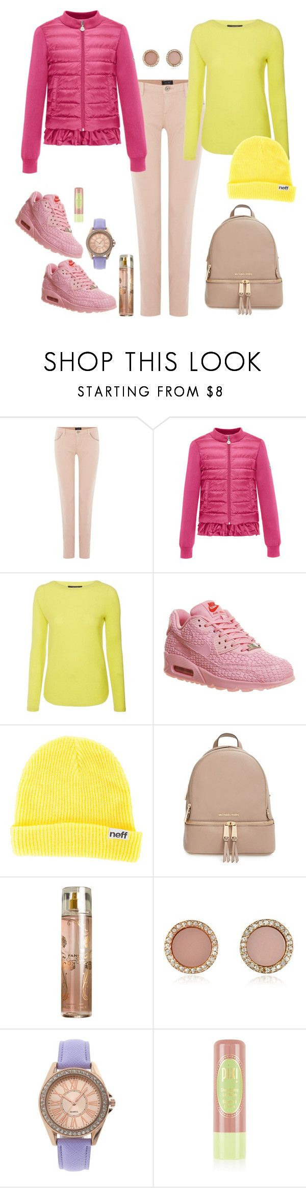 """Puffer jacket"" by kimmmeo ❤ liked on Polyvore featuring Armani Jeans, Moncler, MaxMara, NIKE, Neff, MICHAEL Michael Kors, Jessica Simpson, Michael Kors and Geneva"