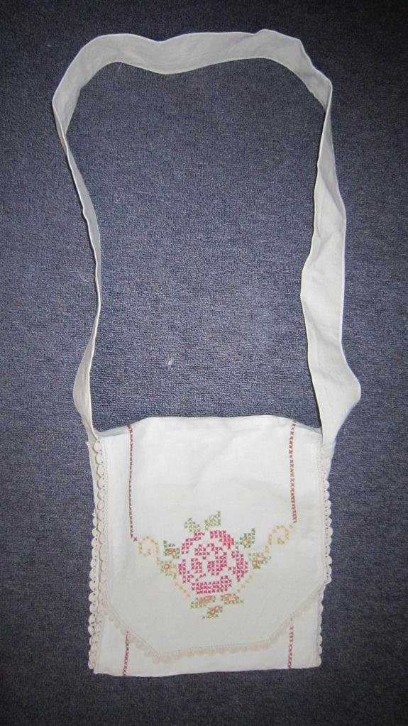 Vintage table runner messenger bag with internal pocket and 2 hoops for phone wallet etc.