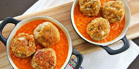 "Vegan ""Meatballs"" with Oven-Roasted Tomato Sauce"