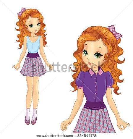 Beautiful teenager red hair girl in school uniform