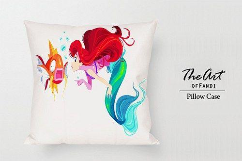 "Disney a Little Mermaid - Custom Square 18""x18"" One Side Pillow Case."