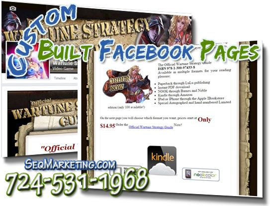Custom Built Facebook Pages Fan Pages Business Pages - With a custom built facebook page not only can you carry the same design and style of your website but you can have different options to engage with your followers. Having a custom built facebook page looks more professional when it matches your website and/or brand. This is important for customer retention also.