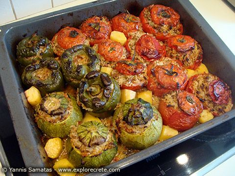 baked greek gemista stuffed tomatoes and vegetables recipe...Here's what's on for dinner tonight!