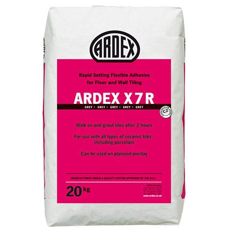 ARDEX X 7 R is a rapid setting adhesive that allows tiles to be grouted and trafficked only 2 hours after fixing