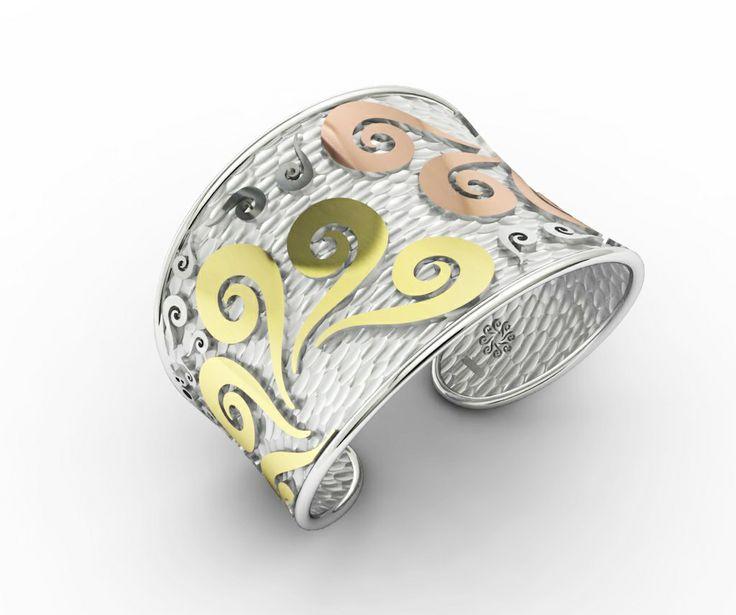 925 Sterling Silver Bracelet Pink & Yellow 18k. Gold. #bohemme #jewelry #bracelet #bohemian