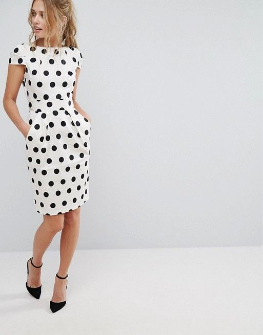 Polka Dot Cap Sleeve Midi Dress by Closet London on Asos