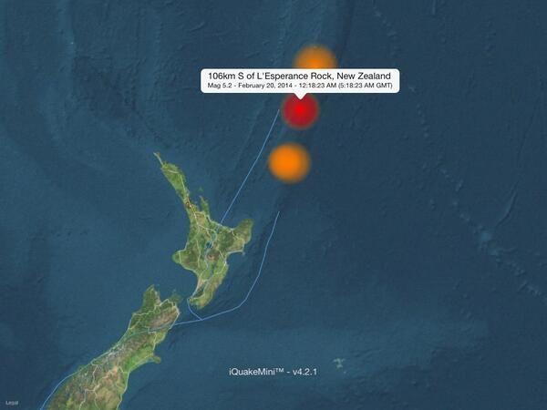 106km S of L'Esperance Rock, New Zealand #earthquake Mag 5.2 - February 20, 2014 - 12:18 AM (5:18AM GMT)