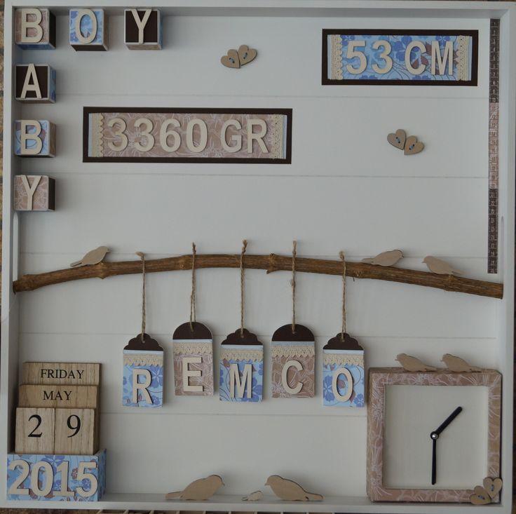 Baby-Boy kraamcadeau voor Agneta gemaakt met allemaal spullen van de action (bij de geboorte van haar zoontje Remco)