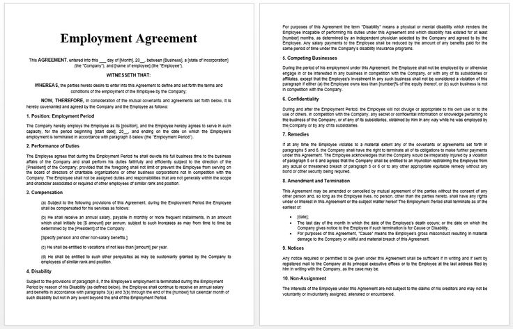 Employment Agreement Template Official Templates Pinterest - sample executive agreement