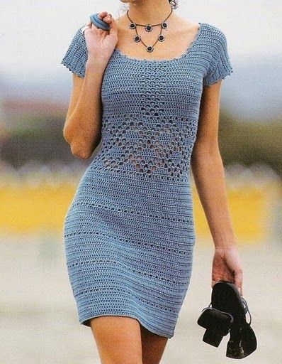 ♥ Vestido azul - simple & elegant blue short sleeve crochet dress