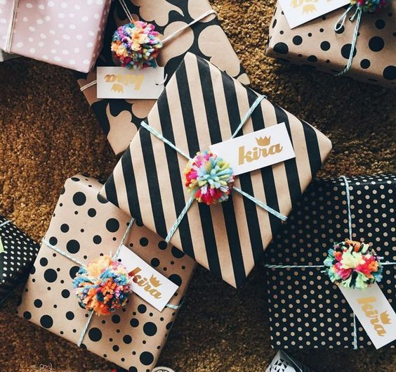 Wrap it up... Pom pom style! Your gift wrap will include: - Tissue paper wrapping for your items - Natural kraft gift box - Printed wrapping paper - Tied with our adorable handmade yarn pom poms and r