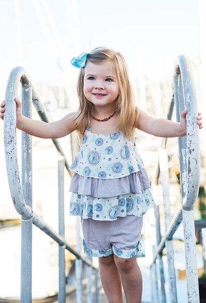 She'll be anything but singing the blues in this two-piece top and short set confection. Eye-catching designer kids fashion touches include alternating prints and solids and a contrast hem. 100% viscose with 3 tier top.  $ 29.95   #girlsfashion #kidsfashionbook #cutekids #girlsclothes #kidslookbook #ootd #kidsootd #igcutest #kidsstyle #cute #hipkidfashion #kidsgotstyle #kidsbabylove #minifashionstyles #igminifashion #freetobekids #minifashiontrends