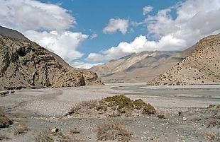Nepal, fiume Kali Gandaki tra Jomosom e Kagbeni