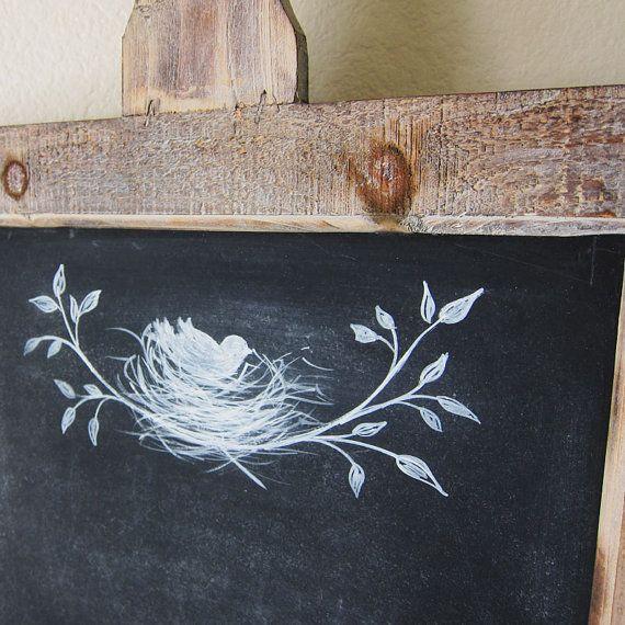 Boerderij schoolbord rustieke Franse land handgeschilderde