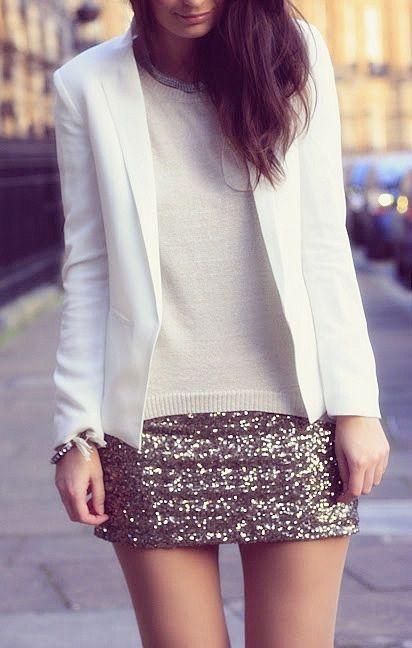 White blazers + sequin minis.