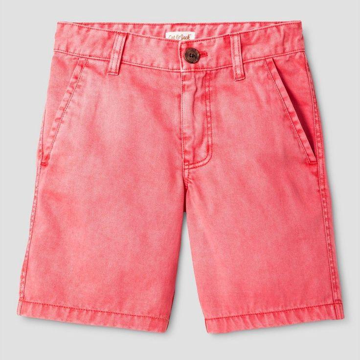 Boys' Flat Front Chino Shorts Cat & Jack Orange Spark 16, Boy's