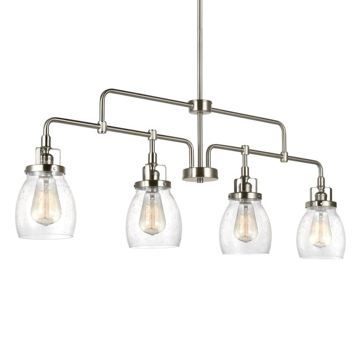 Influenced by the vintage industrial designs of early 20th Century America, the transitional Belton lighting collection by Sea Gull Lighting has Seeded glass shades that highlight the classic Edison bulbs. The rich Heirloom Bronze finish adds another layer of retro design to the warm look. The assortment includes three- and five-light chandeliers; a four-light island pendant; one-light pendant; one-light mini pendant; and one-, two-, three- and four-light bath fixtures. Incandescent…