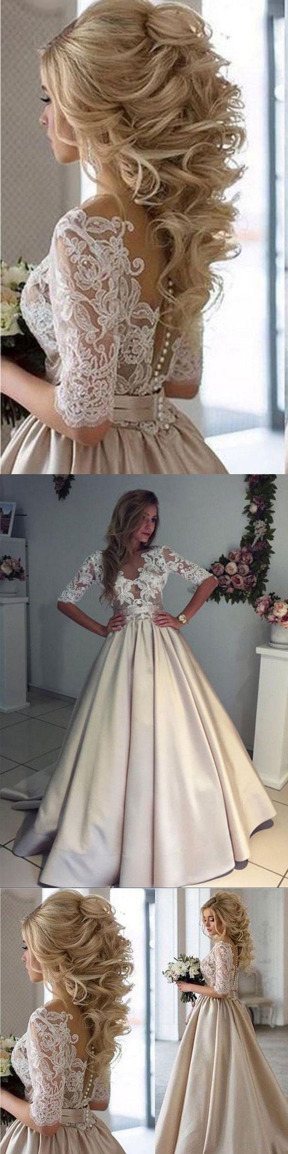 Half Sleeves Lace Top Satin Eleagnt Bridal Long Wedding Dresses, WG1244 #weddingdress #longweddingdress