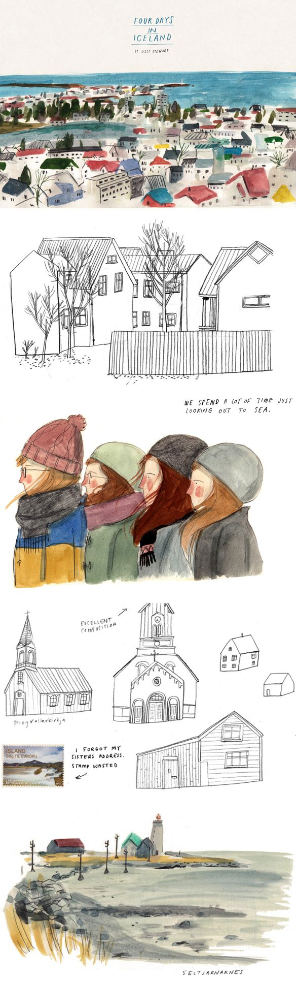 Lizzy Stewart's travel sketchbooks via The Jealous Curator