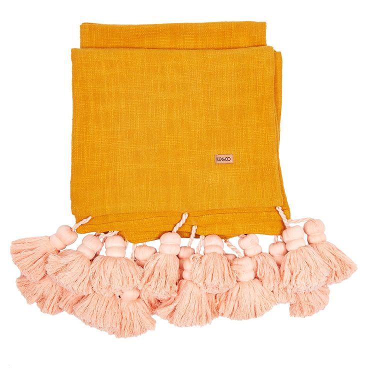 Kip & Co   SS15 Tassel Bed Throw Mustard- Preorder Now