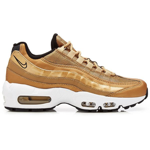 Nike Air Max 95 Metallic Gold Sneakers ($225) ❤ liked on Polyvore featuring shoes, sneakers, nike trainers, white trainers, metallic shoes, nike shoes and nike footwear