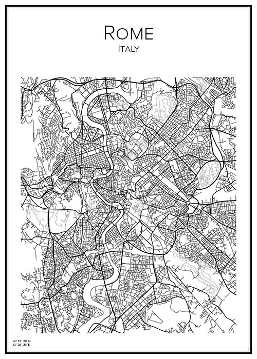 Rome. Italy. Map. City print. Print. Affisch. Tavla. Tryck.