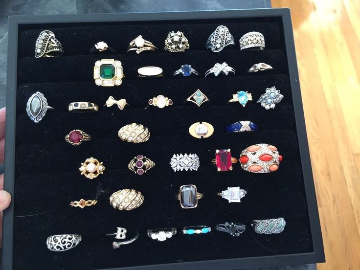 Lot of 37 Vintage Costume Jewelry Rings  signed , some 925 sterling silver #VintageFashionRings