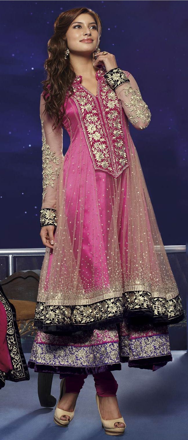 Light Beige #Net #Churidar Kameez @