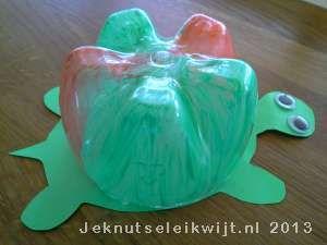 Schildpad van lege fles knutselen.