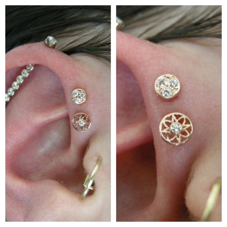 Double forward helix with a rose gold pava disk over a rose gold Paloma flower from BVLA.