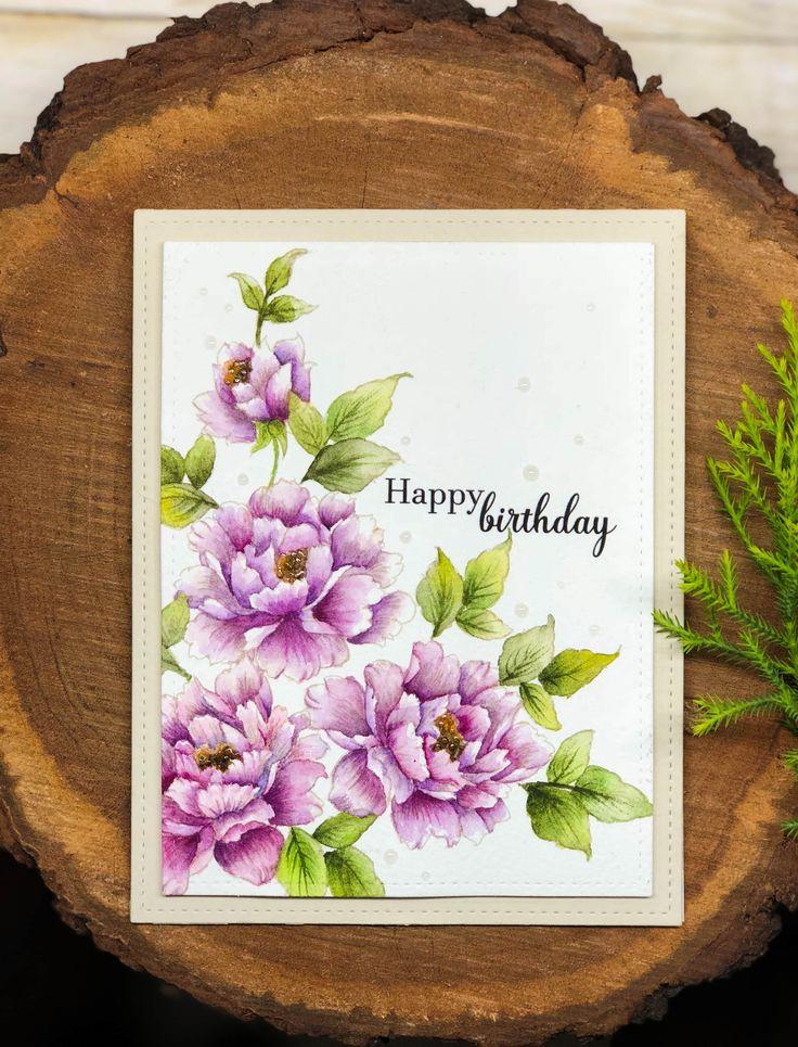 Arjita: Gina K. Designs Stippled Flowers; Mijello Mission gold watercolours and Daniel Smith Watercolours; Tsukineko Irresistible Pico Embellisher--clear; video