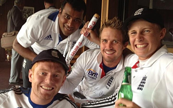 All smiles: England's new class of Jonny Bairstow, Samit Patel, Nick Compton and Joe Root celebrate.  Picture: TWITTER.COM/THECOMPDOG