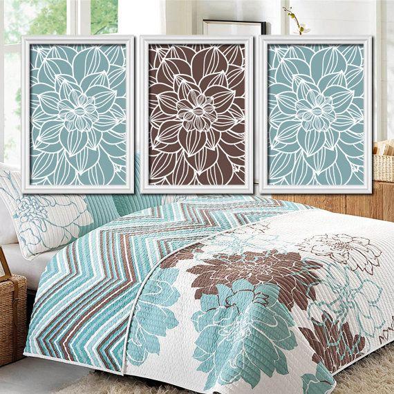 BLUE BROWN Bedroom Wall Art Canvas or Prints Bathroom by TRMdesign