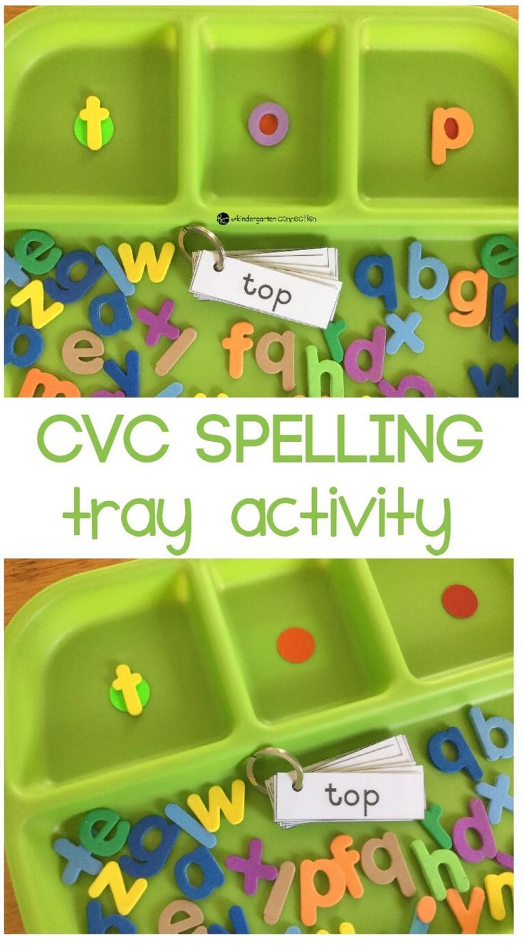 For a fun kindergarten reading activity, try this super simple CVC spelling tray activity, one that works well with spelling CVC words, or three sound words!