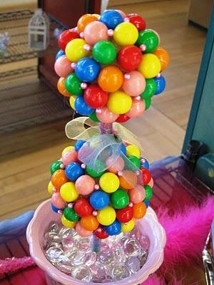 Centro de mesa doble esfera cubiert de bolas de chicle fiesta celebraciones para niños infantil Multicolor Bubblegum Topiary kids party