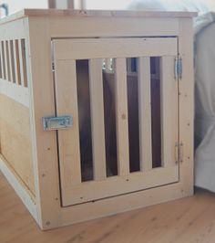 DIY wooden dog crate - $40 worth of materials, just need to put in the effort. Might be nice to build it around a wire crate for dogs who chew...