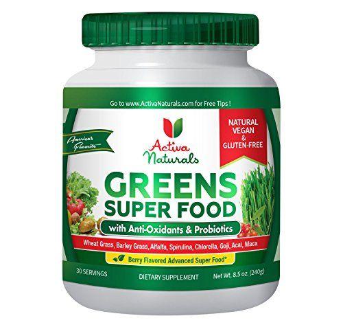 Activa Naturals Greens Superfood Powder - Vegan & Gluten Free 8.5 oz (240 gm) - Raw & Organic Green Foods with Amazing Wheat Grass Spirulina Raspberry Enzymes & Probiotics - Natural Berry Flavor