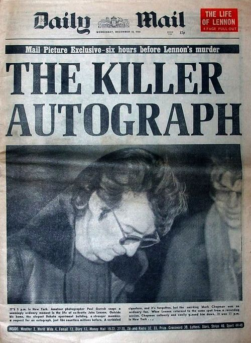 "12/18/80 John Lennon walked to his limo, approached for autographs by several people, one being Mark David Chapman, 25-year-old security guard.  Lennon signed then asked, ""Is this all you want?"" Chapman smiled & nodded in agreement. Photographer Paul Goresh took this photo of the encounter. Chapman than waited for Lennon's return mid-morning and fired 5 hollow-point bullets into Lennon's back."