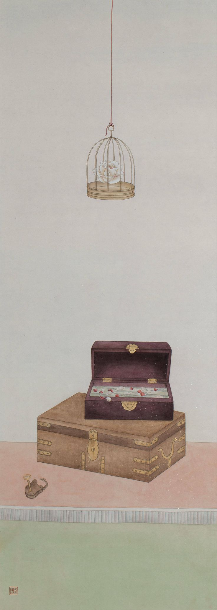 Quotations from Eileen Chang #3 (2012) by Leung Yee Ting; Ink and colour on paper; 120 x 47cm; Artify Gallery