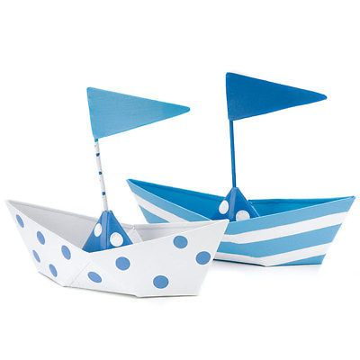 Blue Polka Dot or Stripes Nautical Boat Favor Boxes