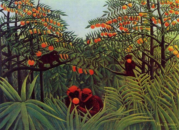 """Giungla con scimmie che mangiano arance"", 1887 - Henri Rousseau."