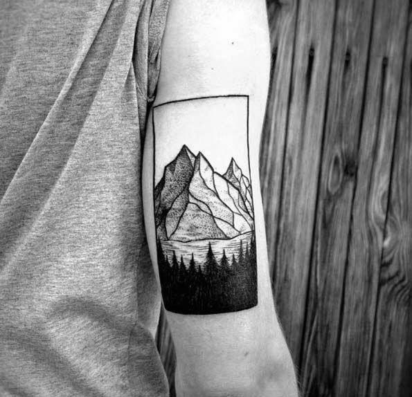 Trizeps Mountains Mens Baum Linie Tattoo Ideen