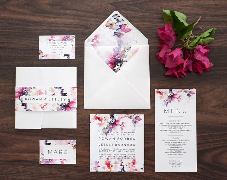 Colourful floral pocket style wedding invitation www.thepinkcollection.co.za