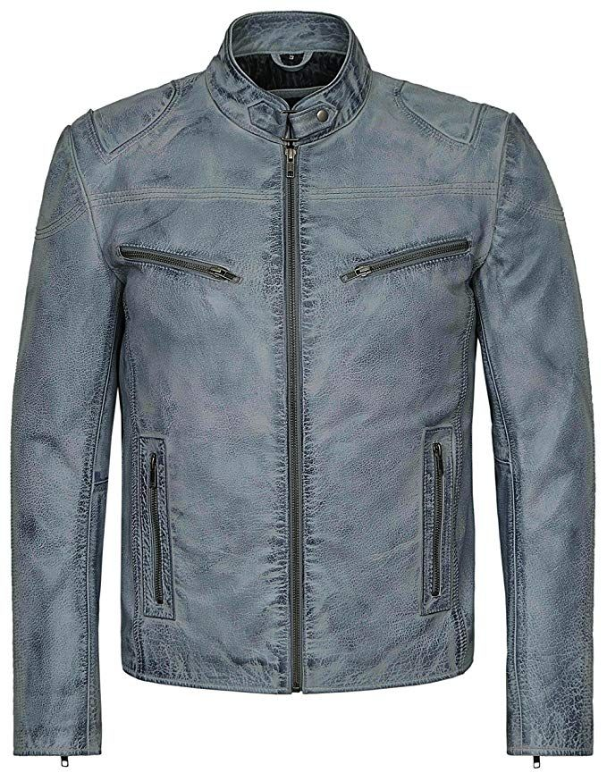 7909b97b Smart Range Men's Speed Washed Grey Stone Biker Style Motorcycle Real Leather  Jacket Review