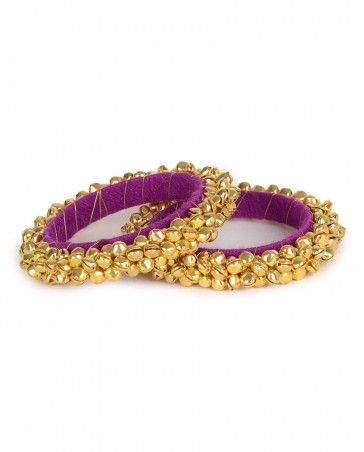 Royal Purple Bangles Pair with Ghungroo Bells