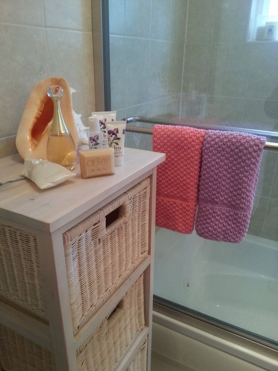 Hand-knitted cotton hand towels guest towels by LeAnnDesign
