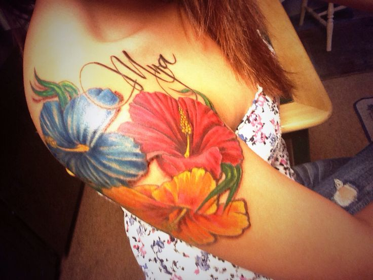 My Hibiscus Flower Arm Tattoo With My Daughters Name -5191