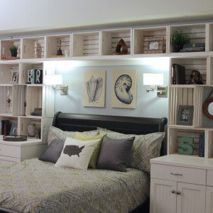 milkcrate shelves over the bed | Purple Bedroom Wall Shelves : Contemporary Options For Bedroom Shelves ...